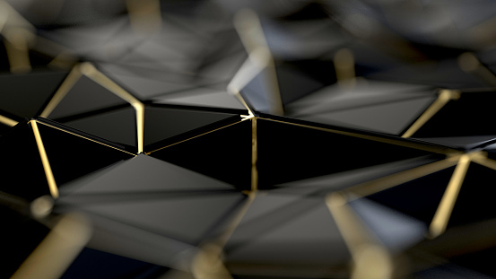 istock Black and gold polygonal background 1011845848