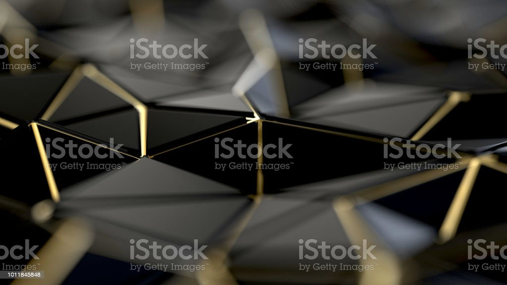 黒とゴールドの多角形の背景 ストックフォト