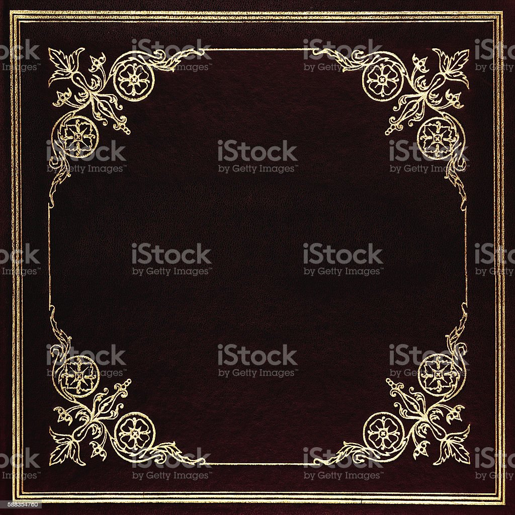 Black and golden leather cover stock photo