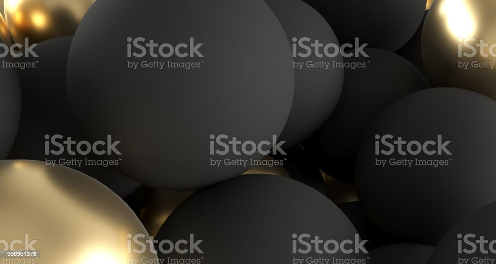 Black And Golden Realistic Spheres Close Up.3D Rendering stock photo