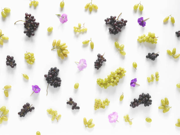 Black and green grapes, lilac flowers on a white background. stock photo