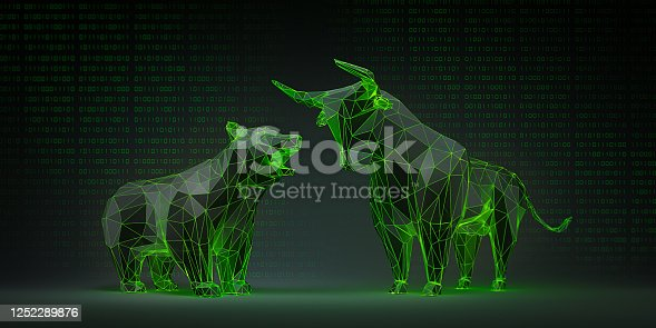 Luminous black and green Bull and Bear with Computer Data Backdrop