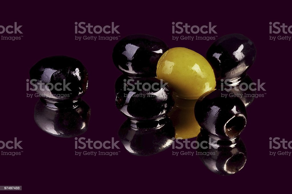 black and green olives isolated royalty-free stock photo