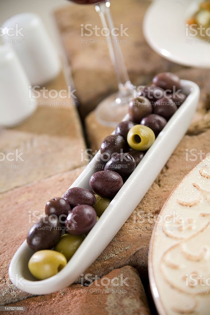 Black and green Olives royalty-free stock photo