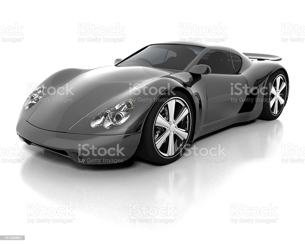 Black and grey sports car for luxury A black sports car on a white background. My own sports car design. Very high resolution 3D render. Alloy Wheel Stock Photo