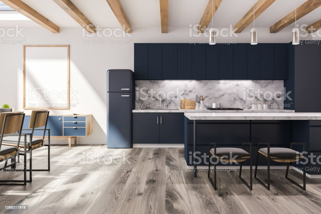 Black And Marble Kitchen In Studio Flat Poster Stock Photo Download Image Now Istock
