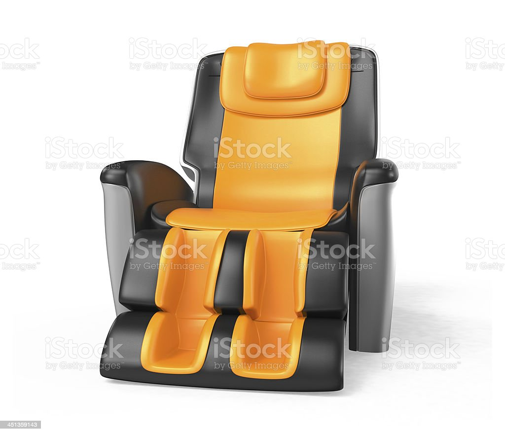 Black and orange leather comfortable massage chair stock photo