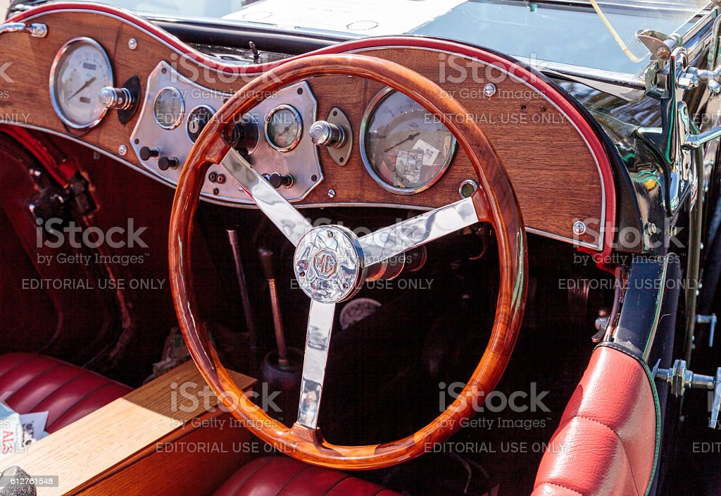 Black and Red 1947 MG TC stock photo