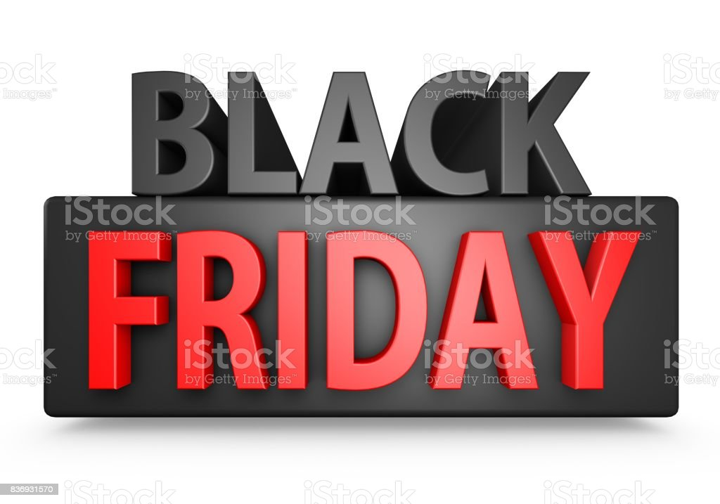 Black And Red 3D Black Friday Text stock photo