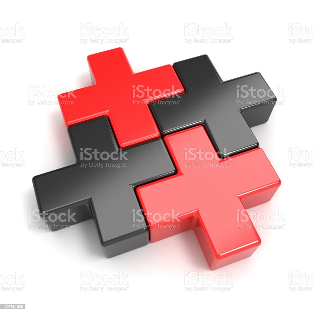 Black and red abstract plus jigsaw puzzle pieces. 3D stock photo