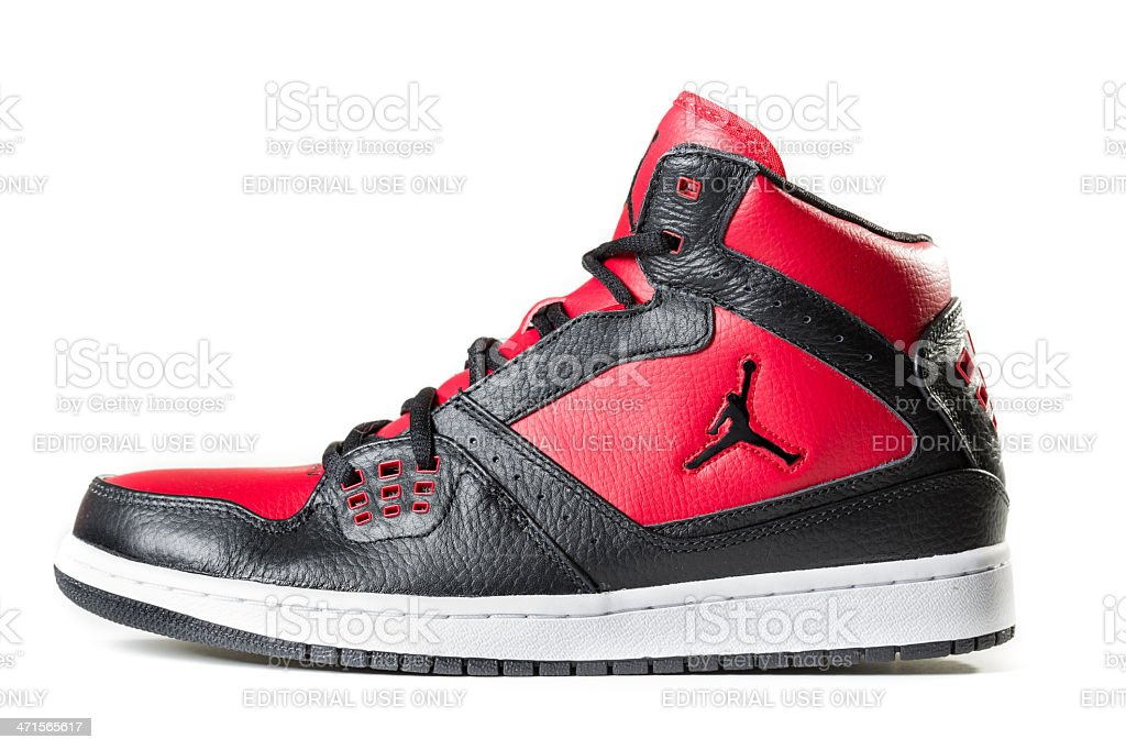 Black and Red Air Jordan Sneaker stock photo