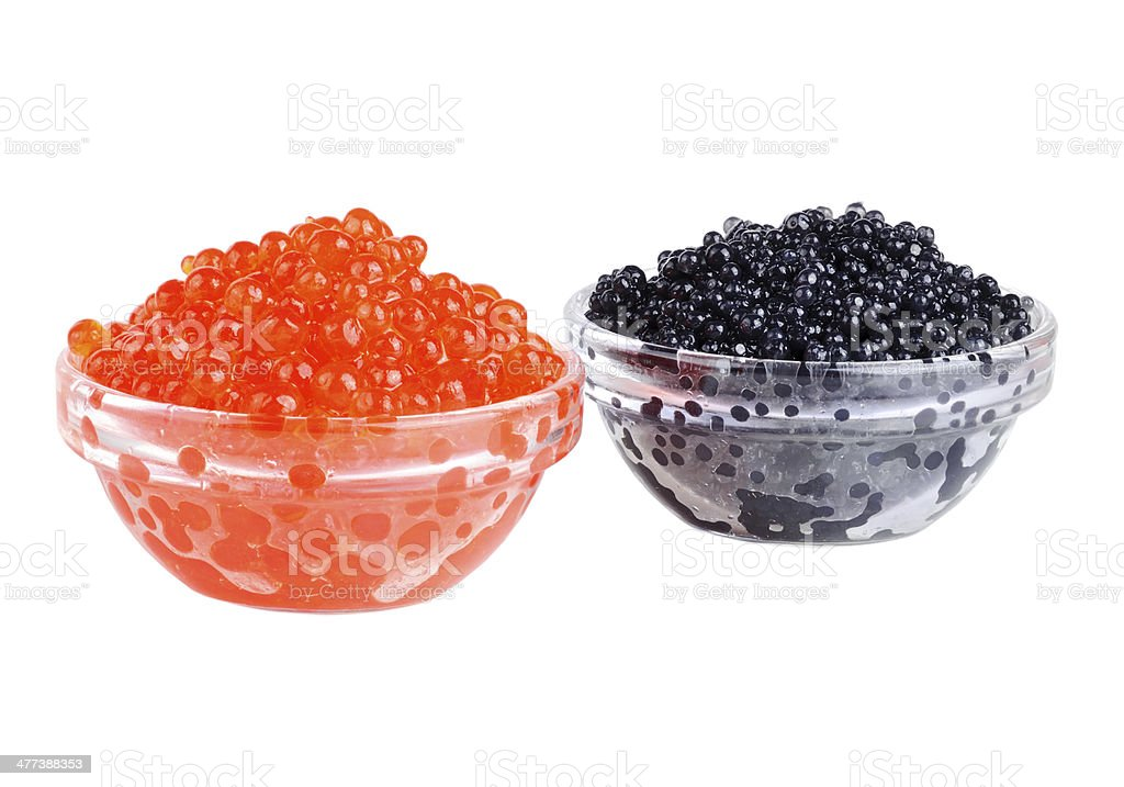 Black and red caviar stock photo