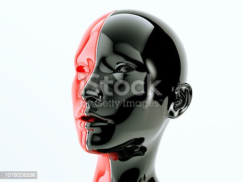 Black and red female body separated by line as symbol of balance and diversity