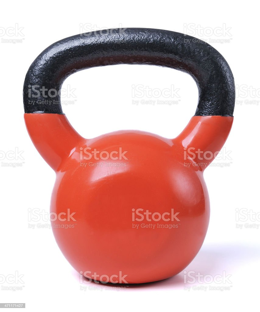 Black and red kettle bell on white background stock photo