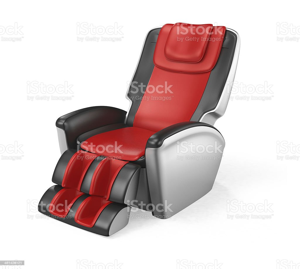 Black and red leather massage chair stock photo