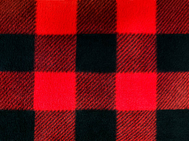 black and red lumberjack plaid pattern red and black lumberjack plaid pattern on fleece fabric plaid shirt stock pictures, royalty-free photos & images