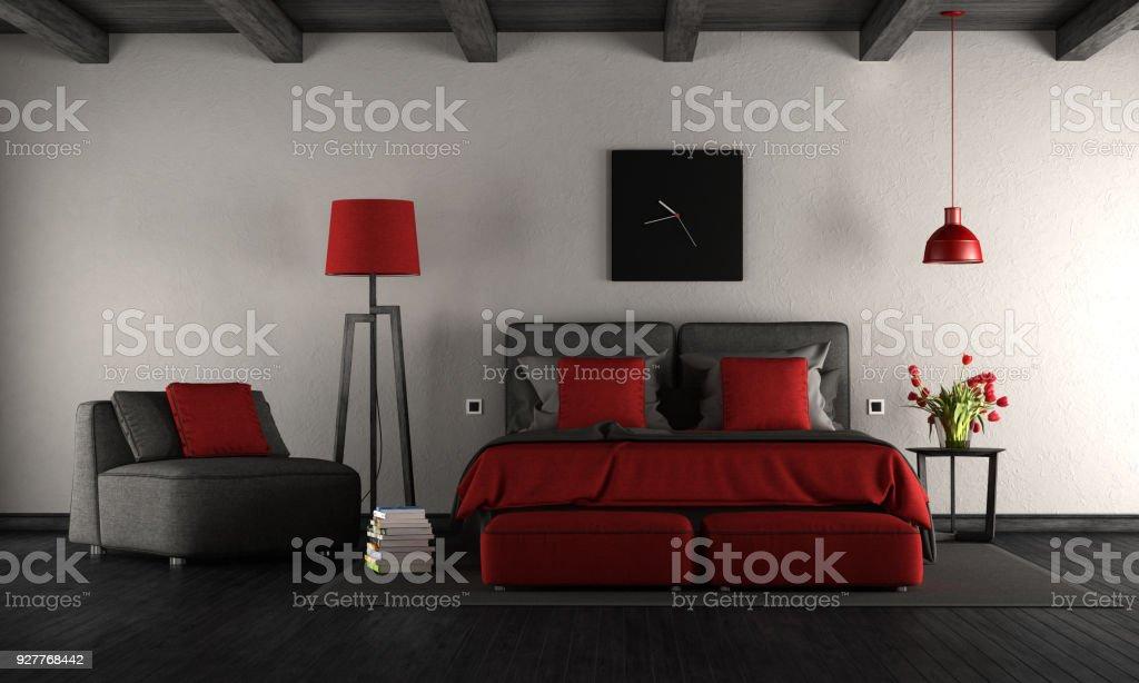 Chambre Moderne Noir Et Rouge Photo Libre De Droits