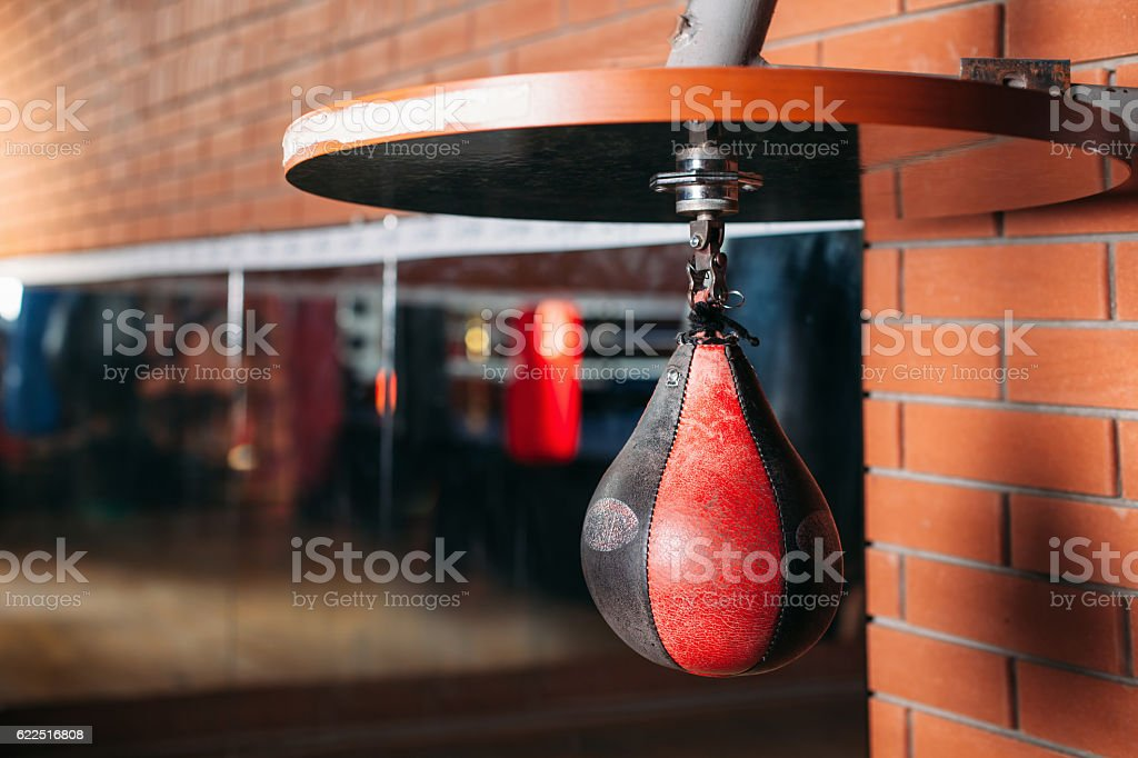 Black and red punching bag. stock photo