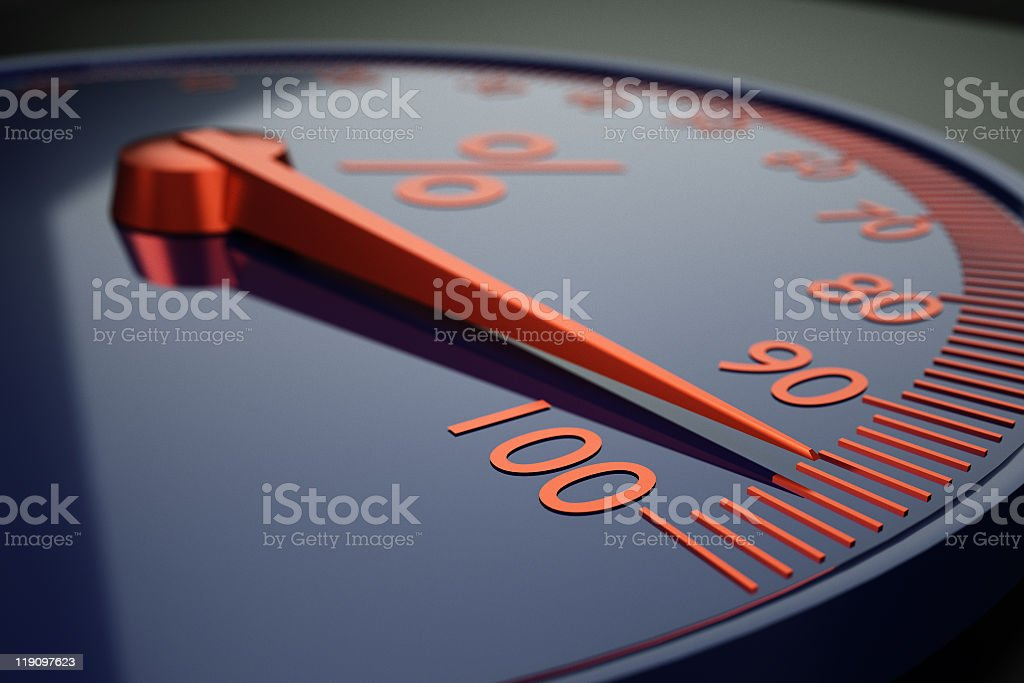 Black and red scale showing 0-100 percentage numbers stock photo