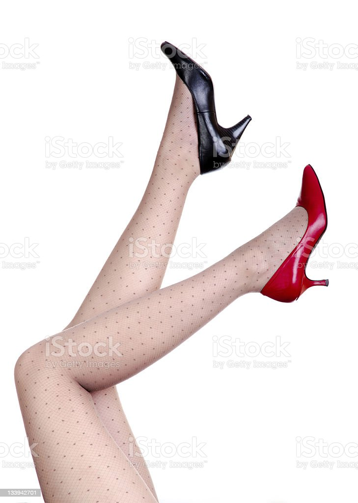 Black and red shoes stock photo