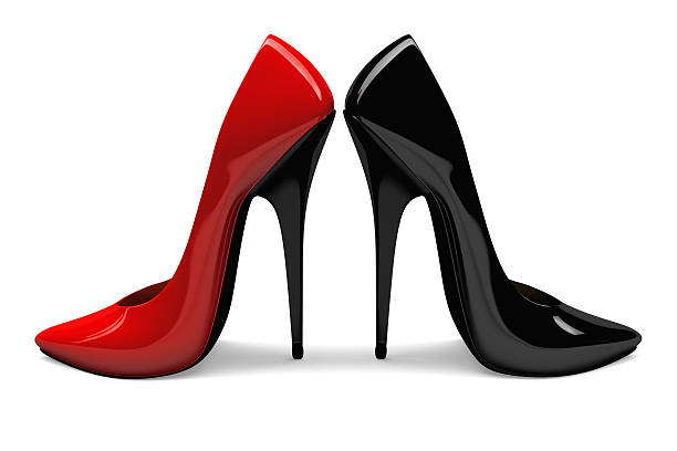 3D Black and Red Shoes stock photo