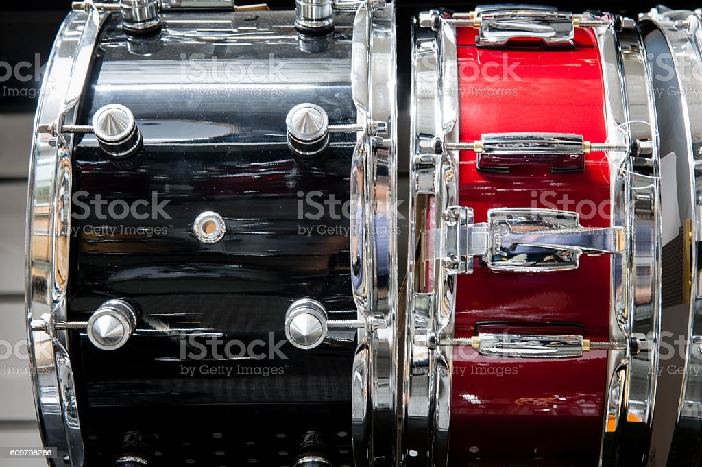 Black and red tomtom drum stock photo