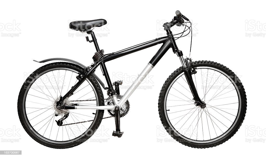 Black and silver bike isolated on white stock photo