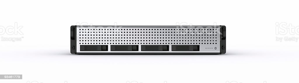 Black and silver server rack isolated in white royalty-free stock photo