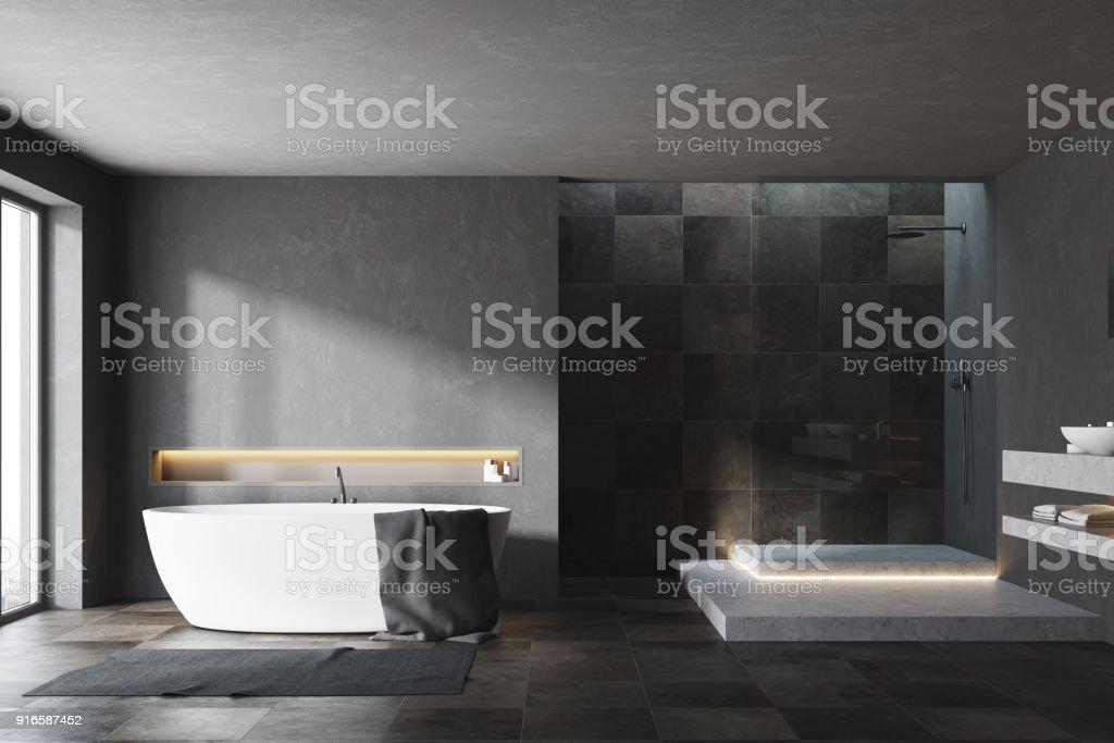 Schwarzweiss Gefliesten Badezimmer Interieur Stockfoto Und Mehr Bilder Von Badewanne Istock