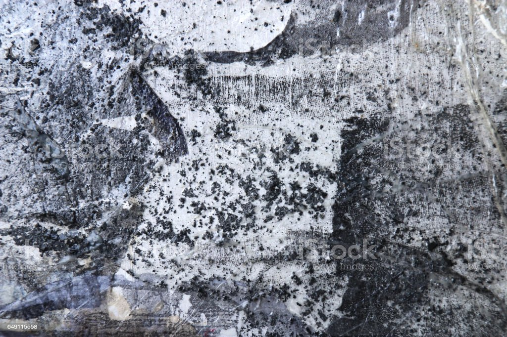 Black and white Abstract art background.Dot, line and textures transfer and mixed media on board. Modern art. Contemporary art. stock photo
