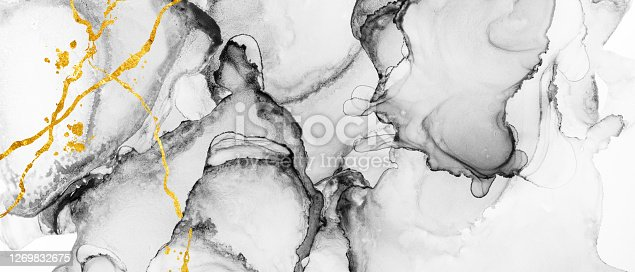 Closeup of black and white abstract texture with gold accents, trendy wallpaper. Art for design project as background for invitation or greeting cards, flyer, poster, presentation, banner