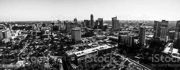Black and White Aerial Austin Texas Urban Downtown Skyline Cityscape