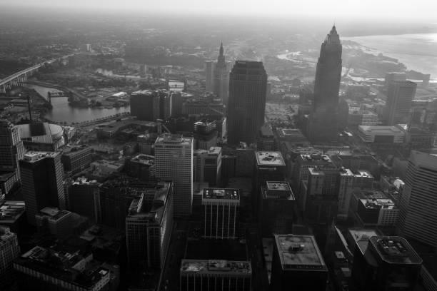 Black and White Aerial Cityscape of Cleveland, Ohio stock photo