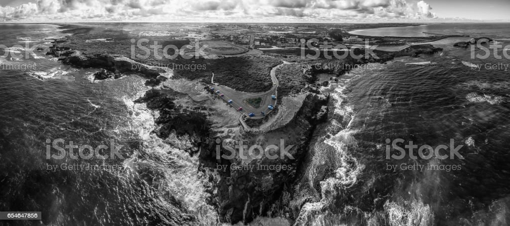 Black and white aerial panorama of Thunder Point lookout and Warrnambool, Victoria, Australia stock photo