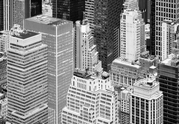Black and white aerial view of New York diverse architecture, US stock photo