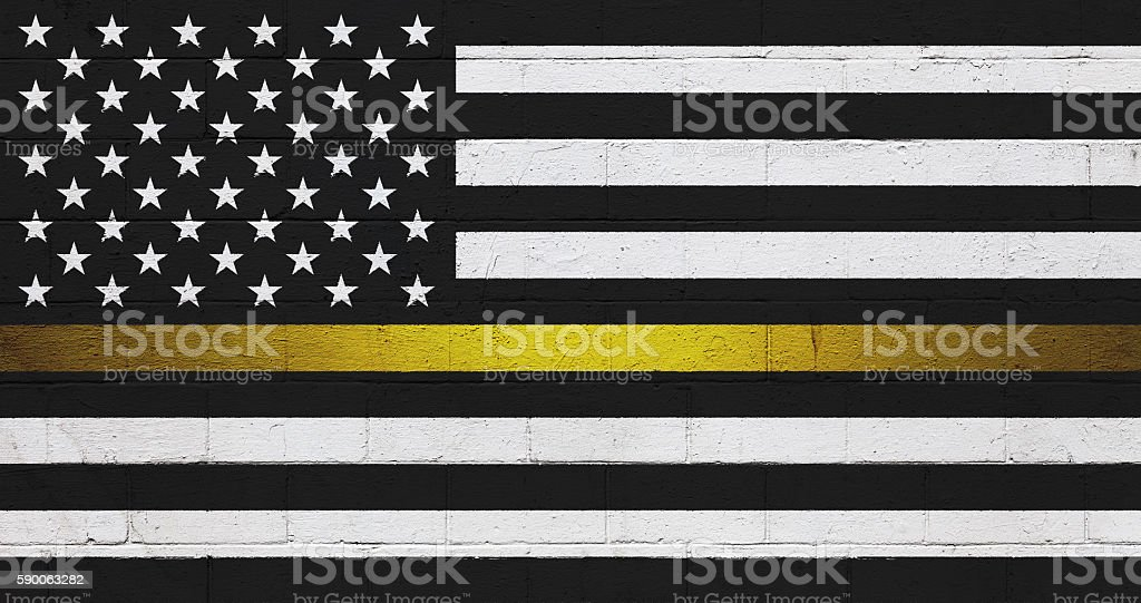 Black and white American Flag painted on a wall stock photo