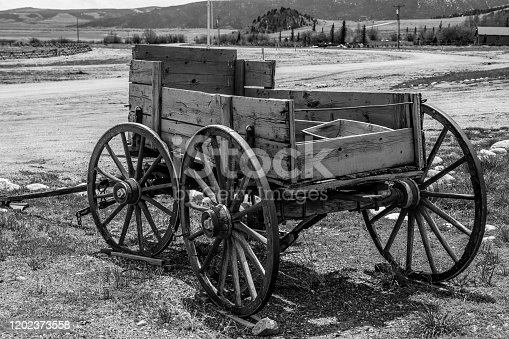 Black and White Antique Wagon Old West