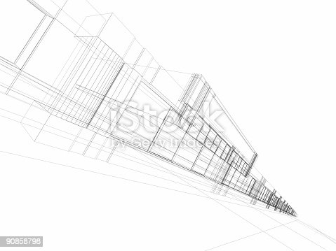 istock Black and white architectural wireframe of office building 90858798