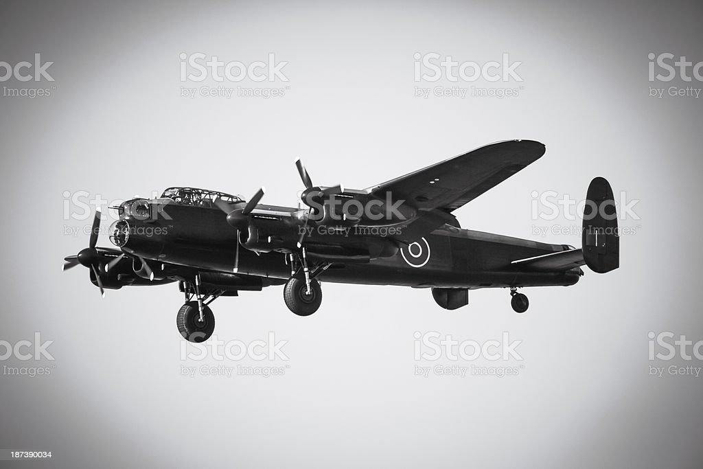 Black and White Avro Lancaster stock photo