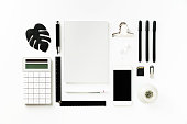 Back to school black and white flat lay on white background