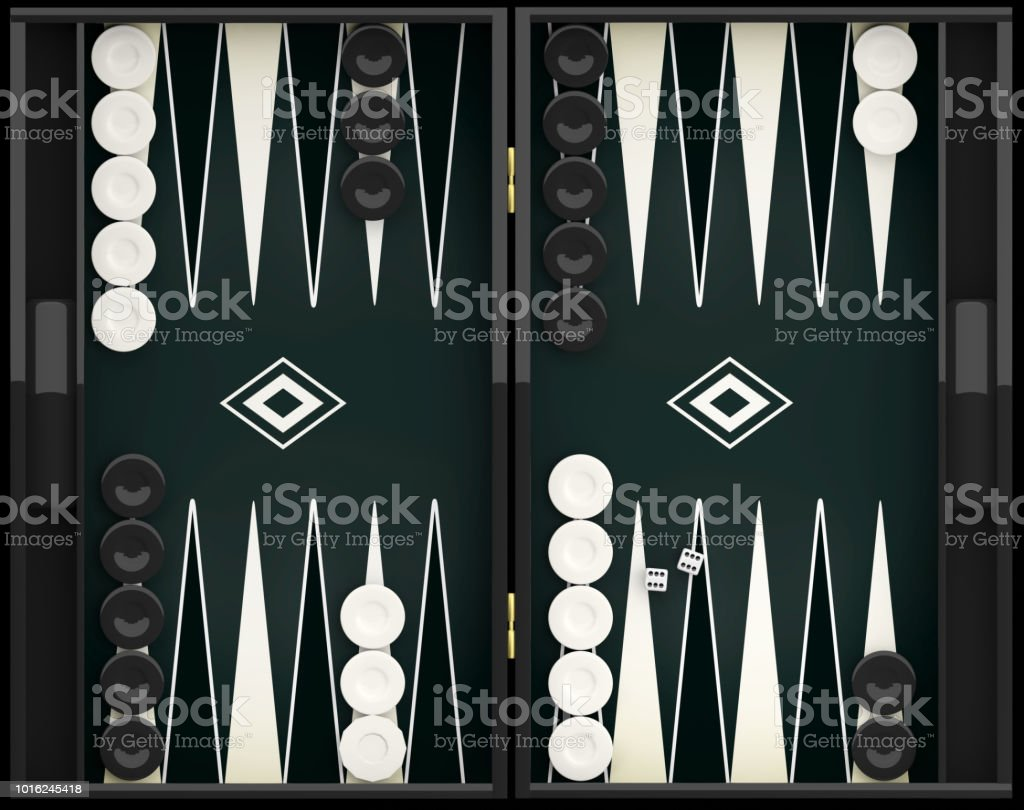 Black and white backgammon board. 3d illustration stock photo