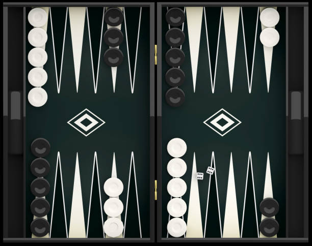 black and white backgammon board. 3d illustration - backgammon stock pictures, royalty-free photos & images