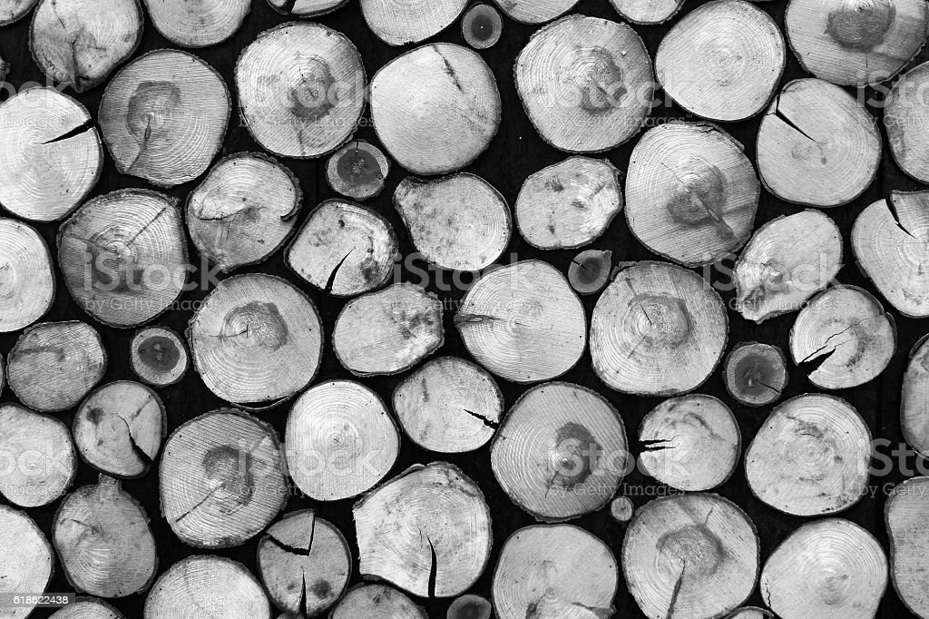 Black and white background of dry firewood logs stock photo