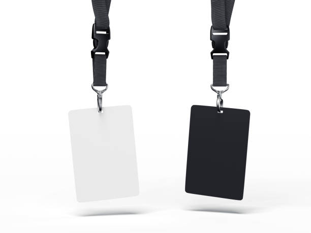 Black and white badges. 3d rendering stock photo