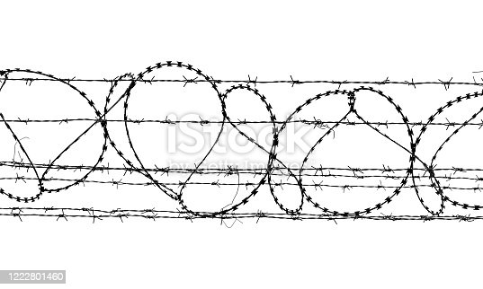 istock Black and white barbed wire isolated on white background 1222801460