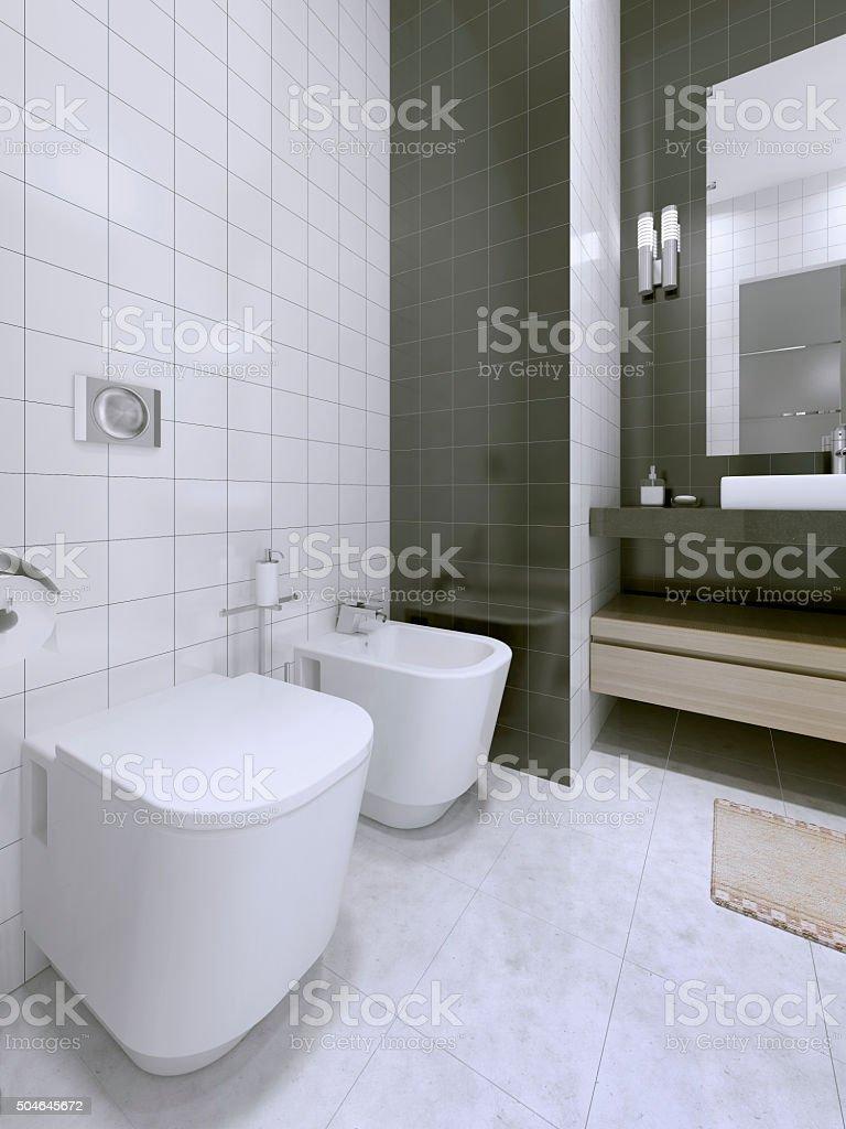 Black and white bathroom idea stock photo