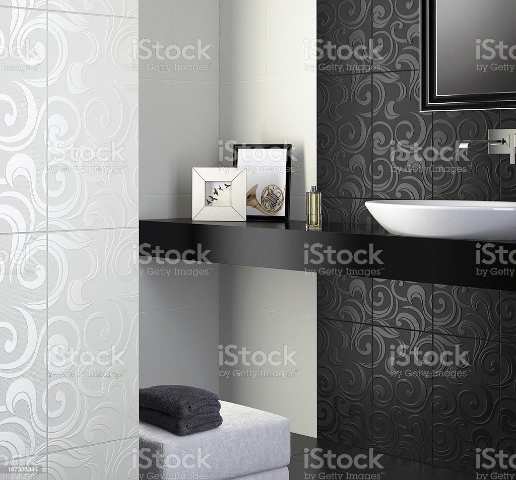 Photo De Salle De Bain Noir Et Blanc photo libre de droit de salle de bain noir et blanc banque d'images et plus  d'images libres de droit de {top keyword}