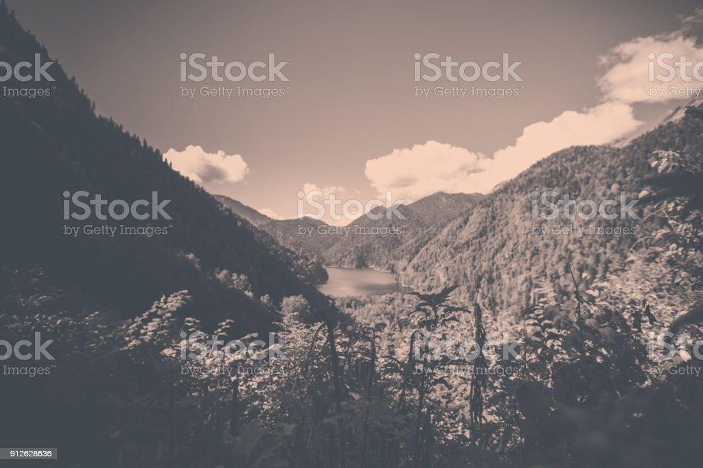 black and white beautiful lake in the mountains stock photo