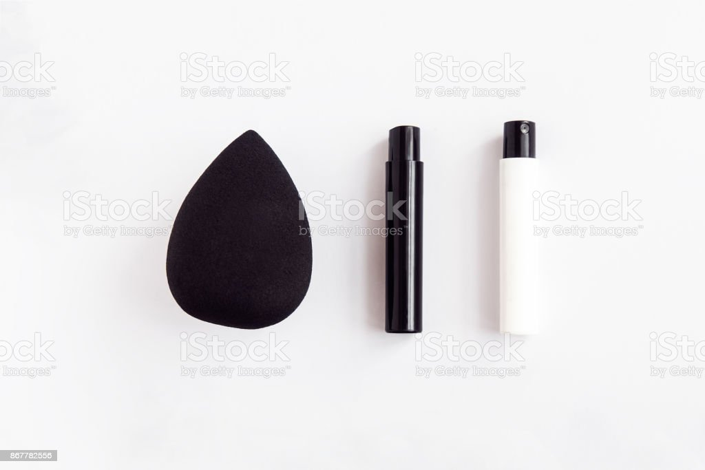 Black and white beauty products flatlay stock photo