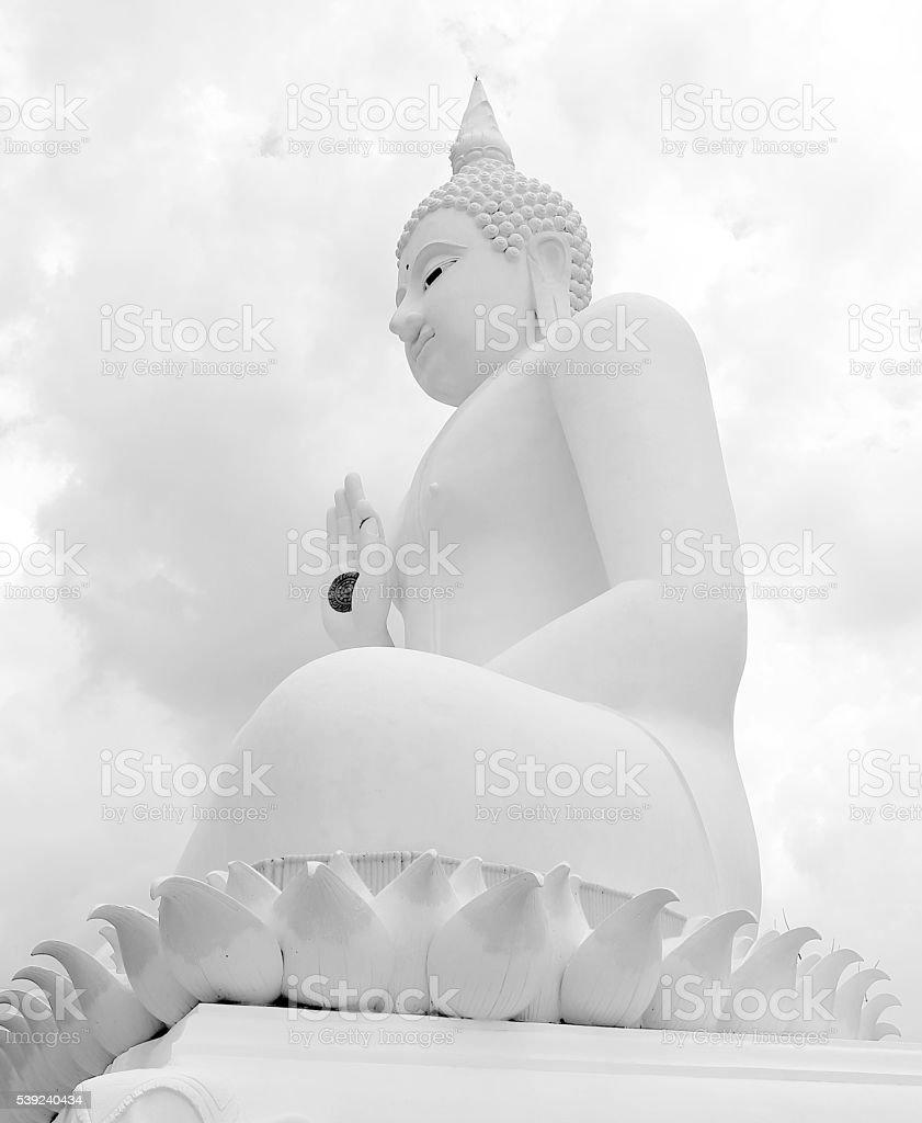 Black and white Big buddha in Temple Thailand royalty-free stock photo